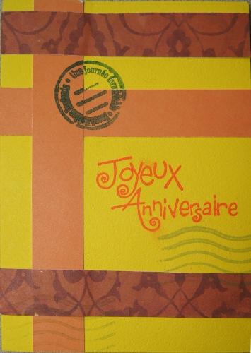 Carte anniversaire jaune et orange
