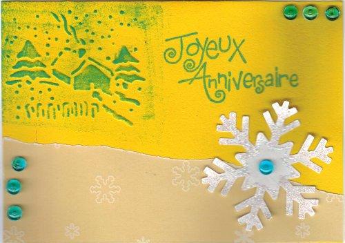 Carte anniversaire hiver