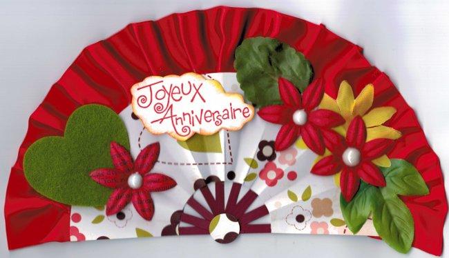 carte anniversaire éventail