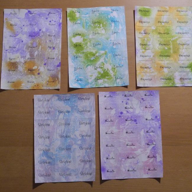 Etiquettes scolaires papier marbré mousse à raser