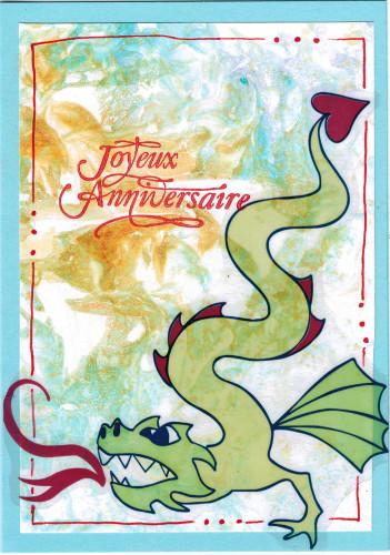 Carte anniversaire dragon marbrage 9 ans