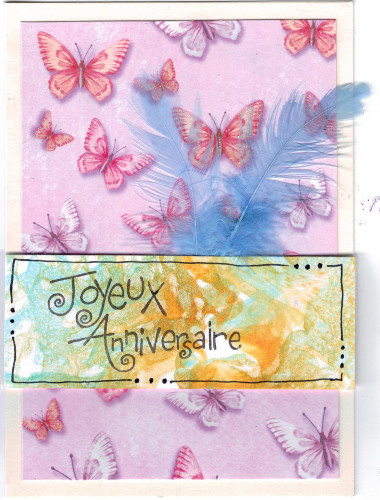Carte anniversaire papier marbré maison mousse à raser plume