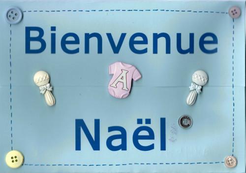 Carte bienvenue bébé garçon Naël