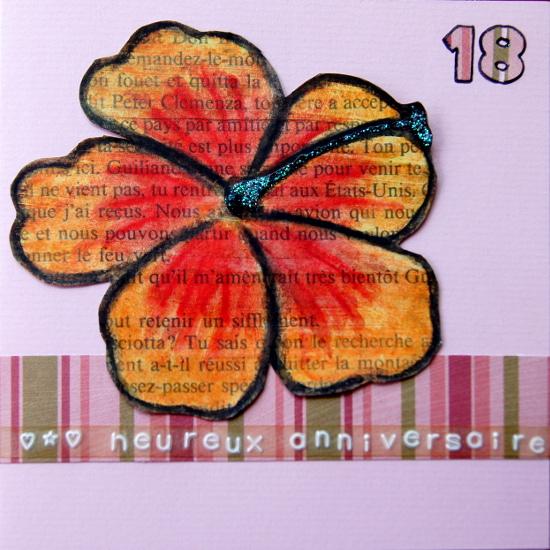 18 ans carte d'anniversaire Bourgeon Créatif