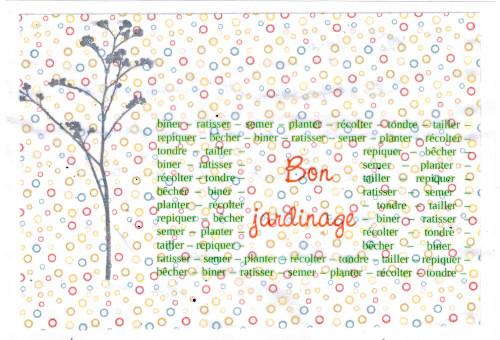 Bourgeon créatif Carte jardinaute pour Sophie