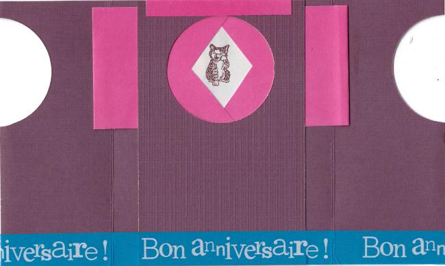 Bourgeon créatif carte mécanique violette ouverte