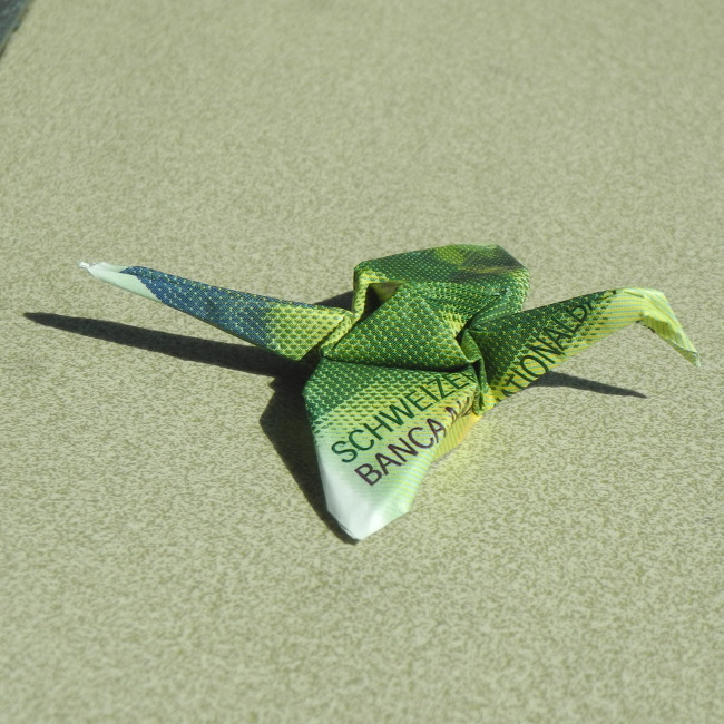 Bourgeon créatif_billet origami grue